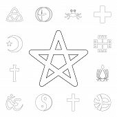 Religion Symbol, Wicca Outline Icon. Element Of Religion Symbol Illustration. Signs And Symbols Icon poster