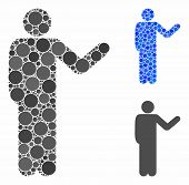 Talking Man Mosaic Of Round Dots In Various Sizes And Color Tints, Based On Talking Man Icon. Vector poster