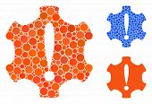 Danger Mosaic Of Round Dots In Different Sizes And Color Tinges, Based On Danger Icon. Vector Round  poster