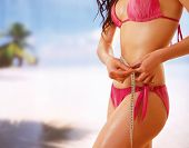 foto of measurements  - Unknown girl in bikini with tape - JPG