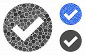 Ok Mosaic Of Circle Elements In Various Sizes And Color Tints, Based On Ok Icon. Vector Round Elemen poster