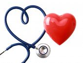 stock photo of cpr  - A stethoscope in the shape of a heart - JPG