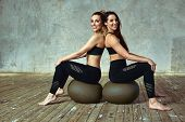Fitness Training, Two Slim Beautiful Women Are Training In The Fitness Room. Fitness Model Posing On poster