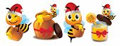 Merry Christmas. Cartoon Cute Bee Mascot Set. Cute Bee Wearing Christmas Hat. Cartoon Cute Bee With  poster