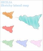 Sicilia Sketchy Island. Majestic Hand Drawn Illustration. Mesmeric Childish Style Icon. poster