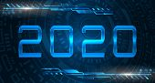 Happy New 2020 Year. Futuristic Glowing Festive Background. Futuristic Technology Banner poster