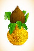 stock photo of kalash  - illustration of coconut in golden mangal kalash for hindu festival - JPG