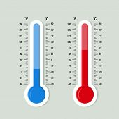 Flat Meteorology Thermometers Scale. Hot, Cold Temperature Icon. Accuracy Meteorology Fahrenheit And poster