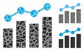 Analytics Mosaic Of Bumpy Pieces In Different Sizes And Color Tones, Based On Analytics Icon. Vector poster