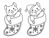 Cute Mouse Sits In A Christmas Sock For Gifts. Contour Doodle Picture For Coloring Book, Sticker, Po poster