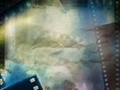 Film strip negative frames grunge paper background poster