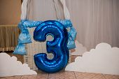 Balloon Number Three. Blue Color. Number Three, 3 poster