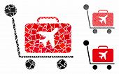 Luggage Trolley Composition Of Joggly Elements In Various Sizes And Color Hues, Based On Luggage Tro poster