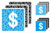 Finances Mosaic Of Rough Parts In Variable Sizes And Shades, Based On Finances Icon. Vector Rough El poster