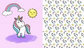 Vector Seamless Pattern With Cute Unicorn And Sun And Rainbow. Funny Pattern For Children With Cute  poster