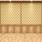 foto of baseboard  - empty interior with leather and wooden wall panels - JPG