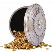 stock photo of bank vault  - open a bank vault with a bunch of gold coins - JPG
