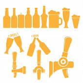Vector Beer Icons Set Isolated On White Background. Vector Beer Mug, Bottle, Aluminium Beer Can, Bee poster