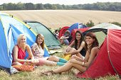foto of young adult  - Young people on camping trip - JPG
