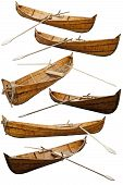 Wooden Replica Of A Viking Boat. Reconstruction Of Historic Ships And Boats. Wooden Ship Isolated On poster