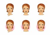 Breathing Exercises For Colds, Runny Nose And Sore Throat. Head Of A Girl With A Breathing Nose Or M poster