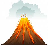 image of magma  - Illustration of a volcano erupting - JPG
