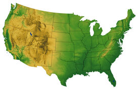 foto of usa map  - Continguous USA map showing land terrain and shaded relief - JPG