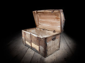 foto of empty tomb  - Vintage treasure chest is open and empty - JPG