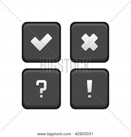 Tick, Cross, Query, Exclamation mark Square buttons