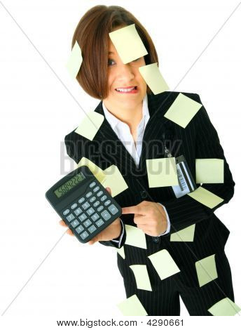 Accountant Stressed With Number On Calculator