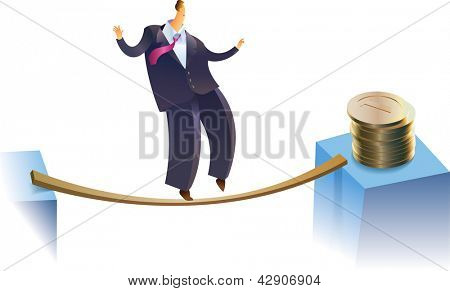 A businessman is trying to reach a golden pile on the risky way. Raster image. Find an editable version in my portfolio.