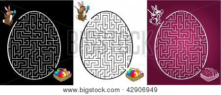 Rabbit is looking for the  eggs in labyrinth