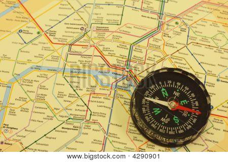 Compass Over Paris Subway Map