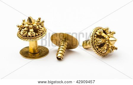 Antique Golden Earrings In Lanna-burmese Style