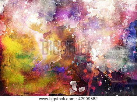 Grunge painting background, colorful illustration