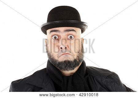 Confused man with beard and bowler hat