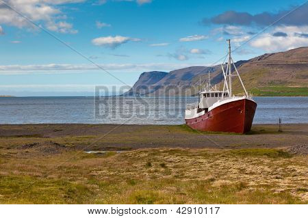 Abandoned Fishing Ship In Iceland