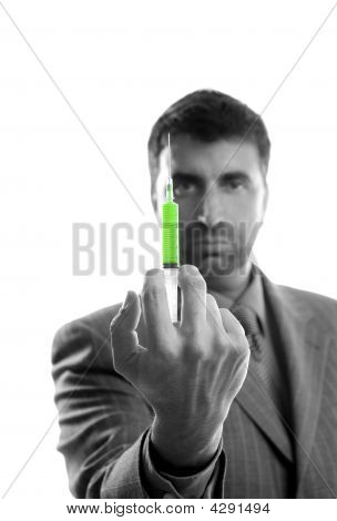 Businessman And Syringe, Finance Metaphor