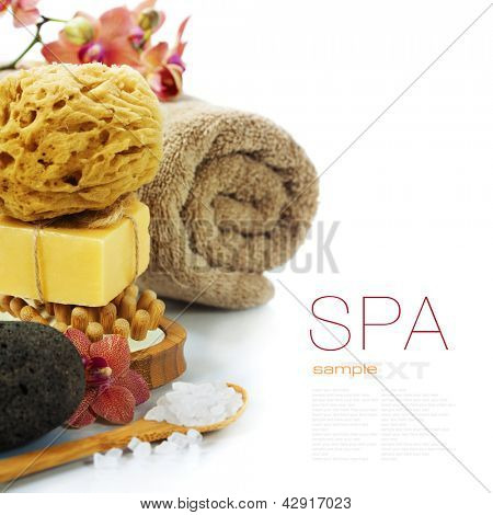 Spa and Wellness- bath brush, pumice stone, sponge, towel, orchid, sea salt and soap over white (with easy removable sample text)