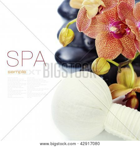 spa concept (zen stones, Herbal massage balls, orchid flower) over white  (with easy removable sample text)