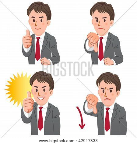 Businessman With Gestures Of Thumbs Up And Down