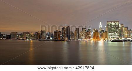 Sunset over a dark Manhattan post Sandy