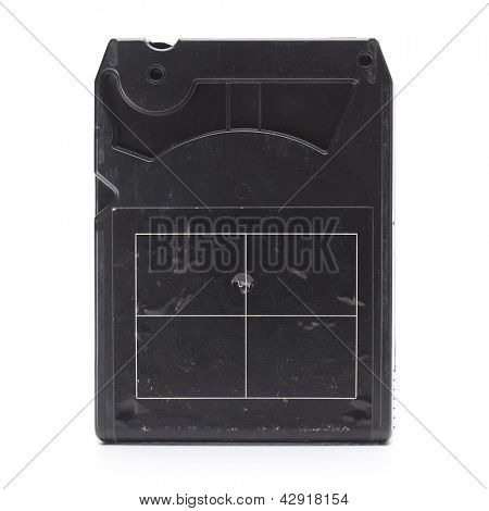 Back side of 1970s eight track cartridge or eight track tape. Isolated on white.