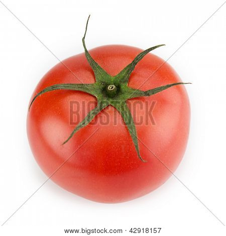 Red ripe tomato with long sepal leaves still intact.Isolated on white.