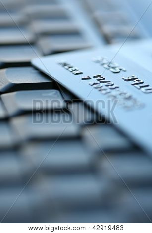 Bank Credit Card On A Computer Keyboard