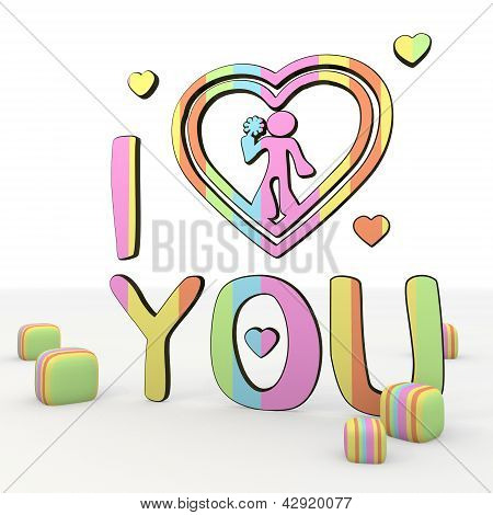 cute colorful I love you 3d icon