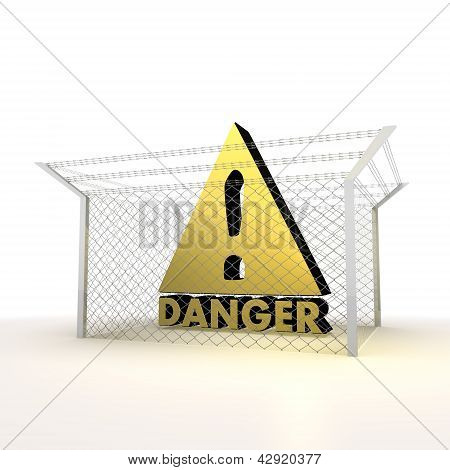 Isolated metallic caged forbidden Danger 3d symbol