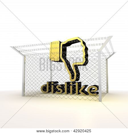 Isolated metallic caged dislike 3d symbol
