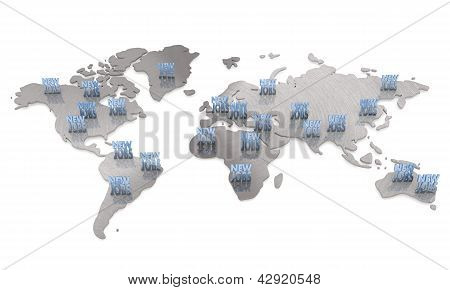 Isolated international  metallic new jobs map  network