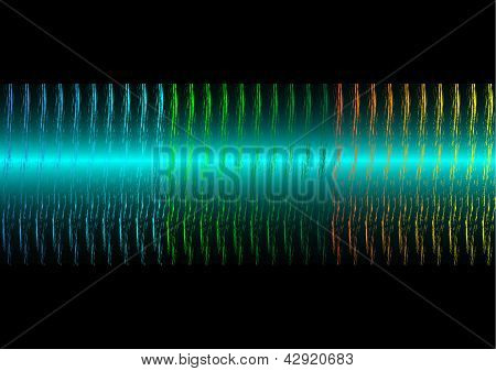 Sound waves on black background.
